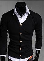 Stylish Men Slim Fit Cotton Knit Sweater Cardigan Button Deep V Neck Basic Coat