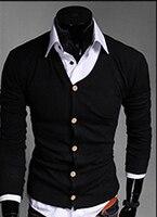Hommes élégant Slim Fit Coton Knit Cardigan Bouton Col En V Profond De Base Manteau