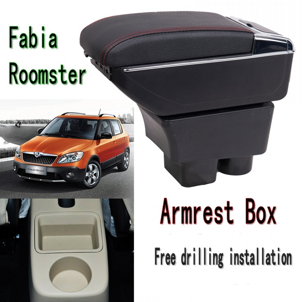 Para Skoda Fabia Roomster caixa apoio de braço central caixa Armazenar conteúdo com suporte de copo cinzeiro USB caixa de braços Fabia Roomster
