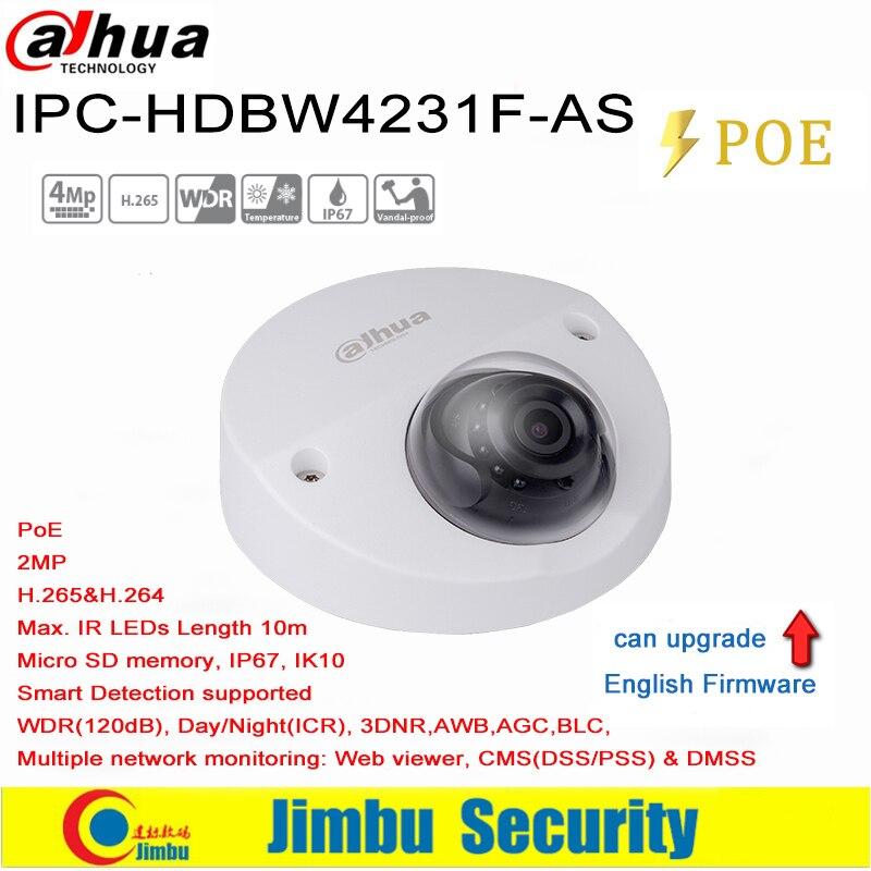 Dahua 2MP IP Camera Mini Dome IPC HDBW4231F AS IR20m IP67 support IK10 POE Micro SD