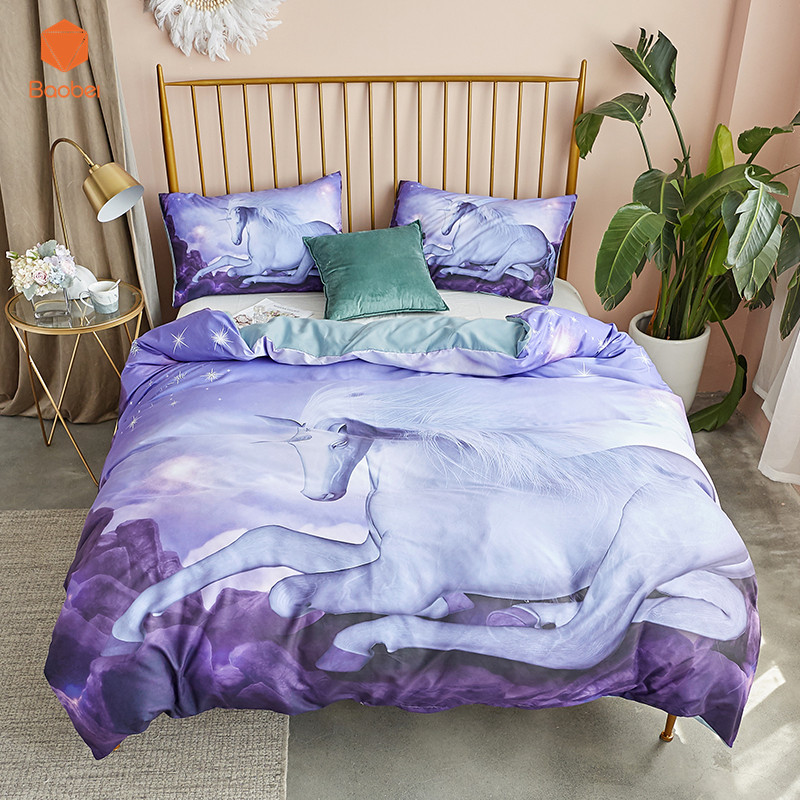 2/3 Pcs3D Unicorn With   Bedding Set With Pillowcase Polyester Printed Bed Linen Duvet Cover Quilt Cover Set HomeTextile2/3 Pcs3D Unicorn With   Bedding Set With Pillowcase Polyester Printed Bed Linen Duvet Cover Quilt Cover Set HomeTextile