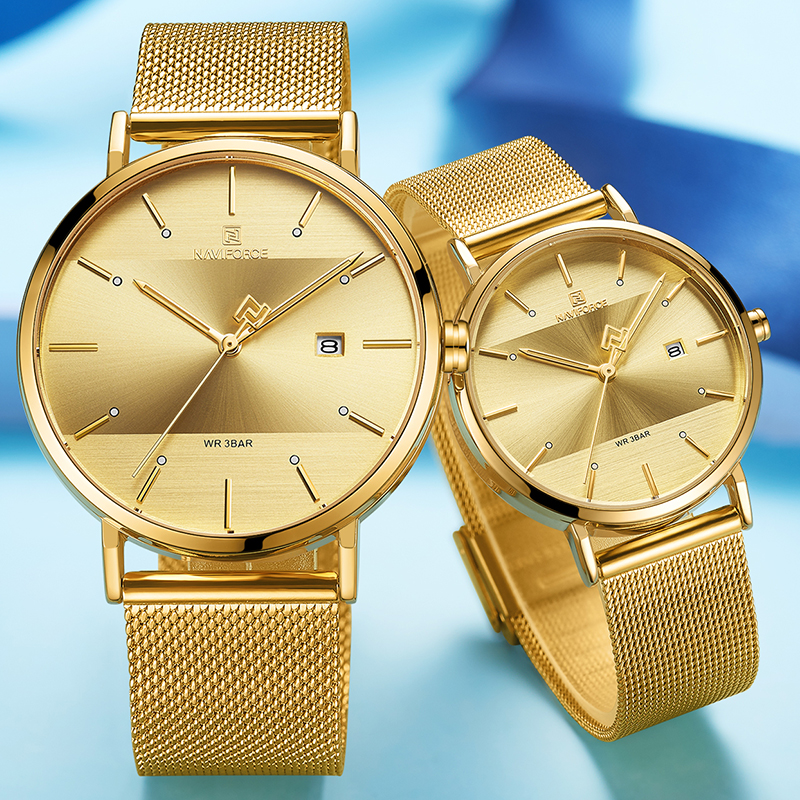 NAVIFORCE Lover's Watches Clock Waterproof Women Luxury Quartz and Simple Casual Men Wristwatch Fashion Golden Couple Watch 2020
