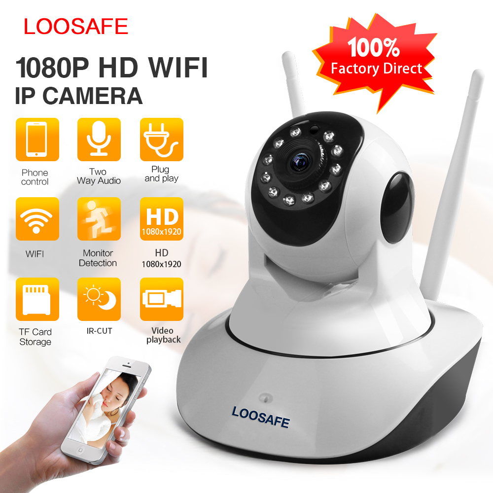 LOOSAFE WIFI HD 1080P IP Camera Home Surveillance Camera 2 MP Baby Monitor Wireless P2P IP Camara PTZ Wifi Security Camera