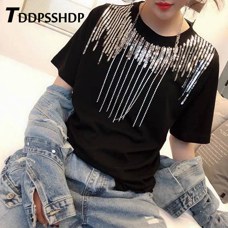 2019 Spring Heavy Work Sequins Decor Women T Shirt Black and White Color Round Neck Female Tee Tops
