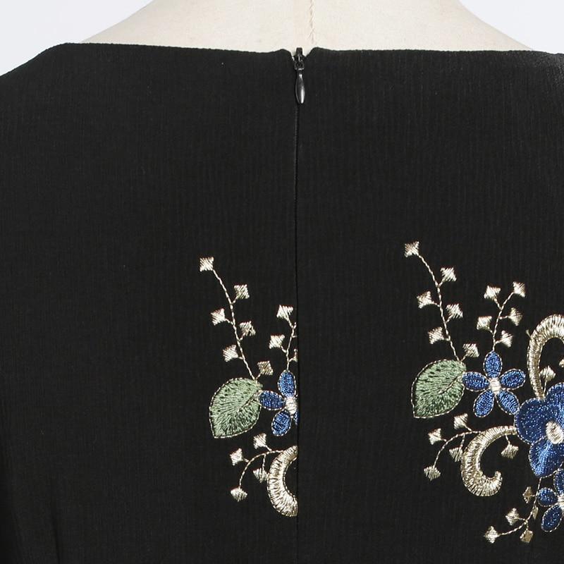 Longueur De Nuit Manches Robe 6530 3 Femmes Élégante Robes O Soirée Broderie Fleurs 2 Parti Cou Pleine v7Uxp6q