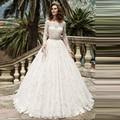 lace sleeve bridal gown 2017 Boat Neck Wedding Dresses with Lace Applique Sashes vestido de noiva bordado robe de mariage 2016