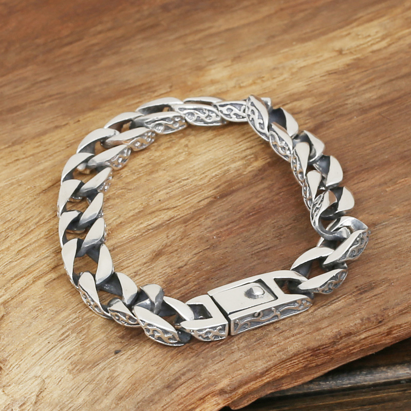 S925 men's fashion wholesale silver jewelry handmade Vintage Silver Bracelet original personality wholesale silver jewelry manufacturers s925 mens fashion silver silver bracelet handmade coarse twist 7m