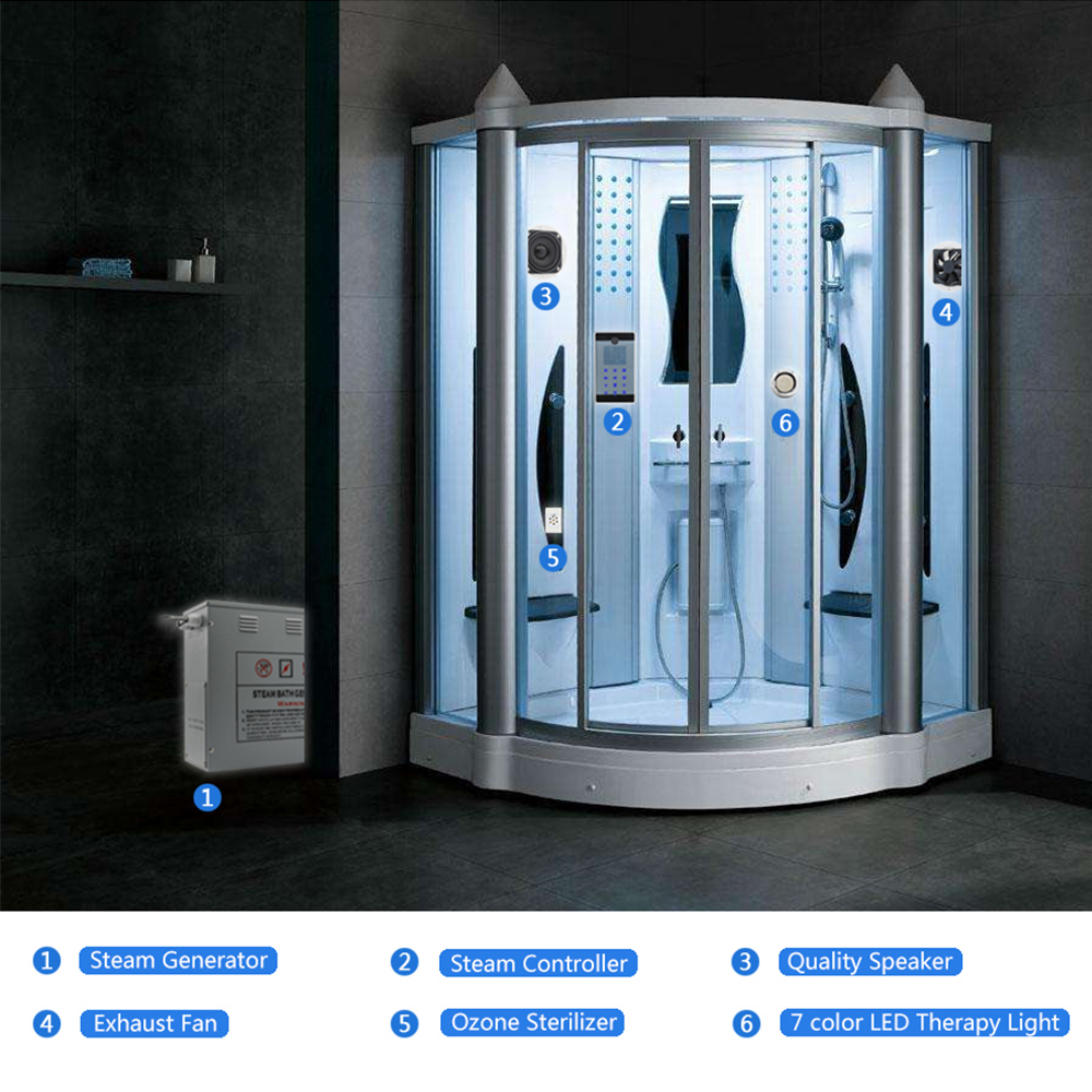 7.5KW/240V Bath Steam Generator With Full Steam LED light Ozone Spa ...