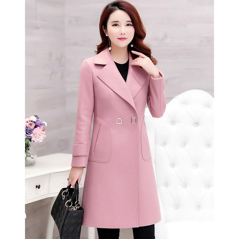 Long khaki 3xl 2019 light Grande Hiver Pink Femme Manteau D'hiver Manteaux Femelle Tan Mince Laine Femmes Automne Outwear De Taille qBf68wHHS