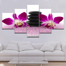 Nature Orchid Flower and Zen Stones Painting Wall Art Bamboo Picture Print on Canvas Modern Home Decor for Artwork