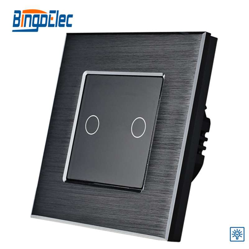 Home Improvement EU/UK Standar 2gang1way Black Aluminum Panel Touch Dimmer Switch Wall Switch On/Off Light Switch AC110-240V 2gang dimmer light switch 2gang1way touch sensor dimmer switch eu uk standard ac110 250v