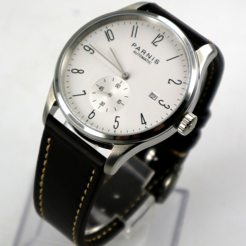 лучшая цена 42mm parnis white dial date window leather ST 1731 automatic mens watch