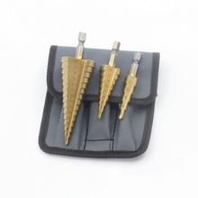 цена на 3PCS Step Bit Hex Shank Titanium Nitride Coated Carbide Glass Drill Bit Screw Extractor Tool Kit Carbid Drill Bit Set