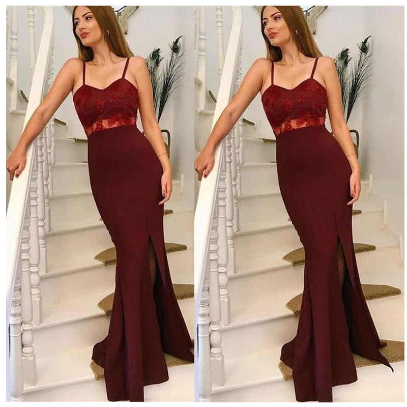 f85a4a7142c ... Elegant Women Long Mermaid Prom Dresses 2019 LORIE Sparkly dark red Lace  Evening Gown Spaghetti Strap ...
