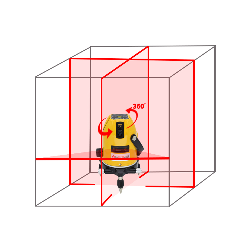 5 Lines 6 Points Laser Level 360 degrees rotary 635nm strong thick lines Horizontal and Vertical Cross Super Powerful Red Laser