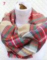 Mais recente Projeto Acrílico Inverno Tartan Cobertor Envoltório Baixada Laço Lenço Xale Xadrez Fashional Mulheres Infinito Cachecol marca de luxo