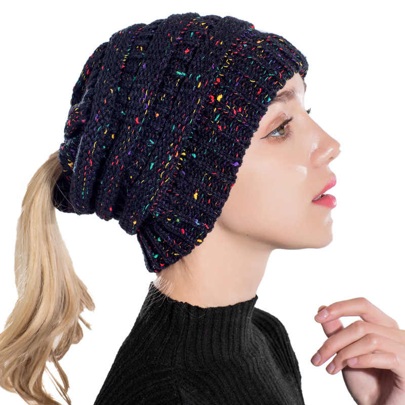 Detail Feedback Questions about Fashion Knit Ponytail Beanie Winter ... e2a21f130