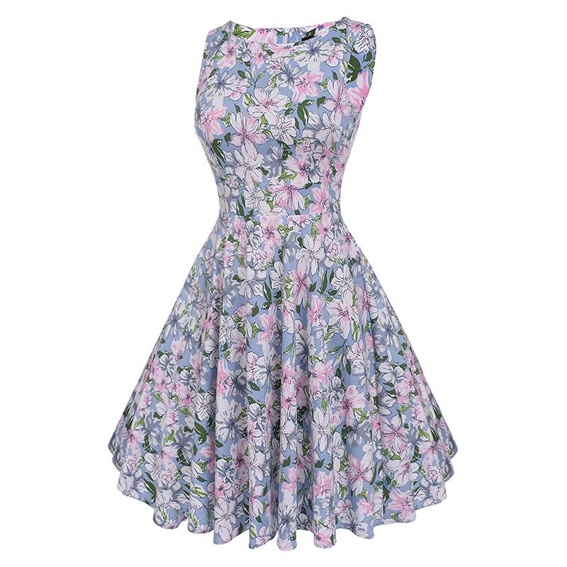 Kostlish Cotton Summer Dress Women 2017 Sleeveless Tunic 50s Vintage Dress Belt Elegant Print Rockabilly Party Dresses Sundress (47)
