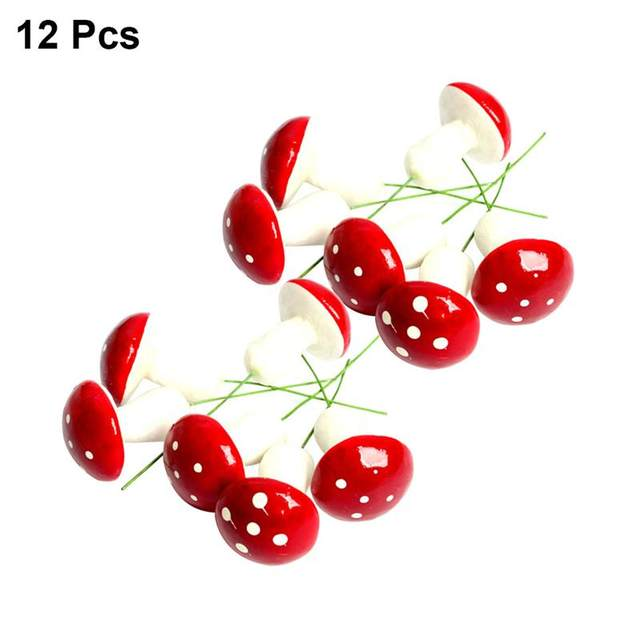12PCS Cute Small Mushroom Christmas Tree Ornament Xmas Hanging Pendants for Home Party DIY Decoration (Red) 15