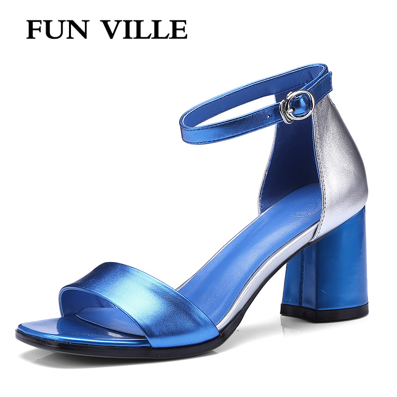 FUN VILLE New Fashion Genuine Leather Women Sandals Summer Shoes Women Open Toe High Heels Party Dress Sandals Gladiator shoes summer mother shoes woman genuine leather soft outsole open toe sandals casual flat women shoes 2018 new fashion women sandals