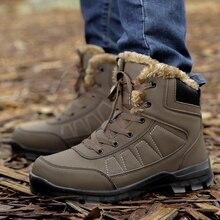 Мужские Ботильоны; повседневные зимние ботинки в стиле милитари; мужские водонепроницаемые черные зимние ботинки; Мужская обувь; теплые зимние ботинки на меху для мужчин; большой размер 47