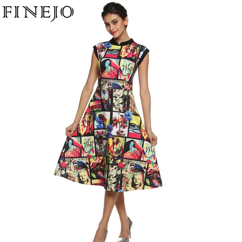 FINEJO Vintage Dress 3D Print Floral Sleeveless Vestidos Women Dresses Summer Slim A-Line Long Flare Clothes Plus Size S-XXXL