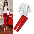 Free Shipping 2016 Spring&Summer 3/4 Sleeve  Elegant V-Neck White Tops+ Fashion Red Pants Beautiful Women Suits With Sash