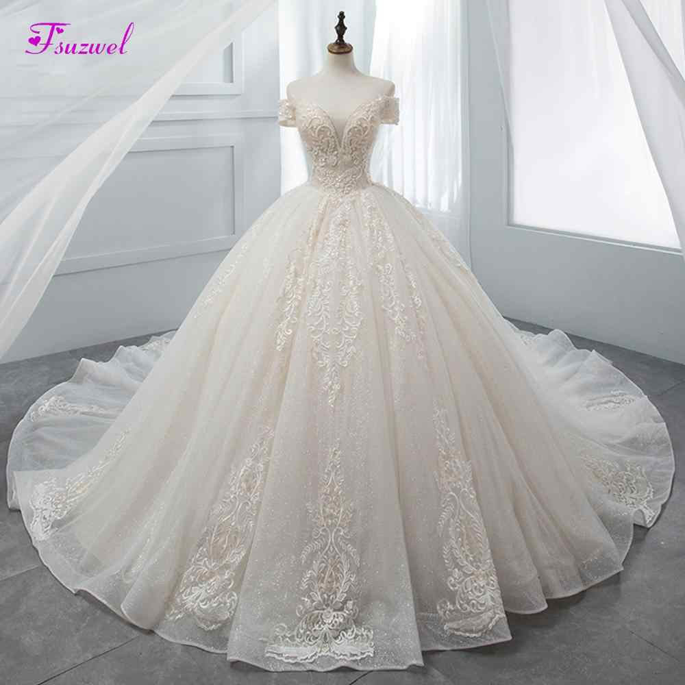 Fsuzwel Gorgeous Appliques Chapel Train Ball Gown Wedding Dresses 2019 Luxury Beaded Boat Neck Princess Bridal Gowns Plus Size