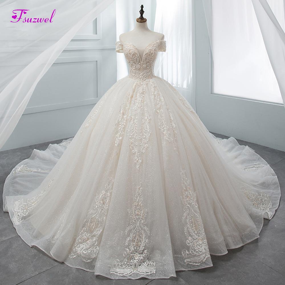 Fsuzwel Gorgeous Appliques Chapel Train Ball Gown Wedding Dresses 2019 Luxury Beaded Boat Neck Princess Bridal Gowns Plus Size