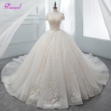 Fsuzwel Gorgeous Appliques Chapel Train Ball Gown Wedding Dresses 2020 Luxury Beaded Boat Neck Princess Bridal Gowns Plus Size