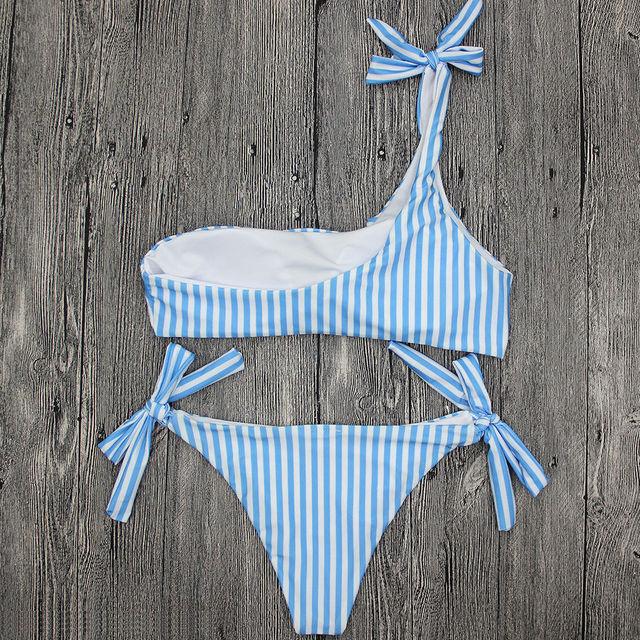 One Shoulder Pushed Up Striped Bikini Set Swimsuit