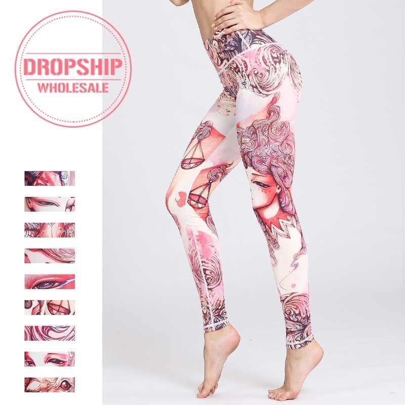 2b17828d75475 Women Fitness Yoga Pants The Zodiac Print Sport Tights Slim High waist  Leggings Gym Elastic Leggins