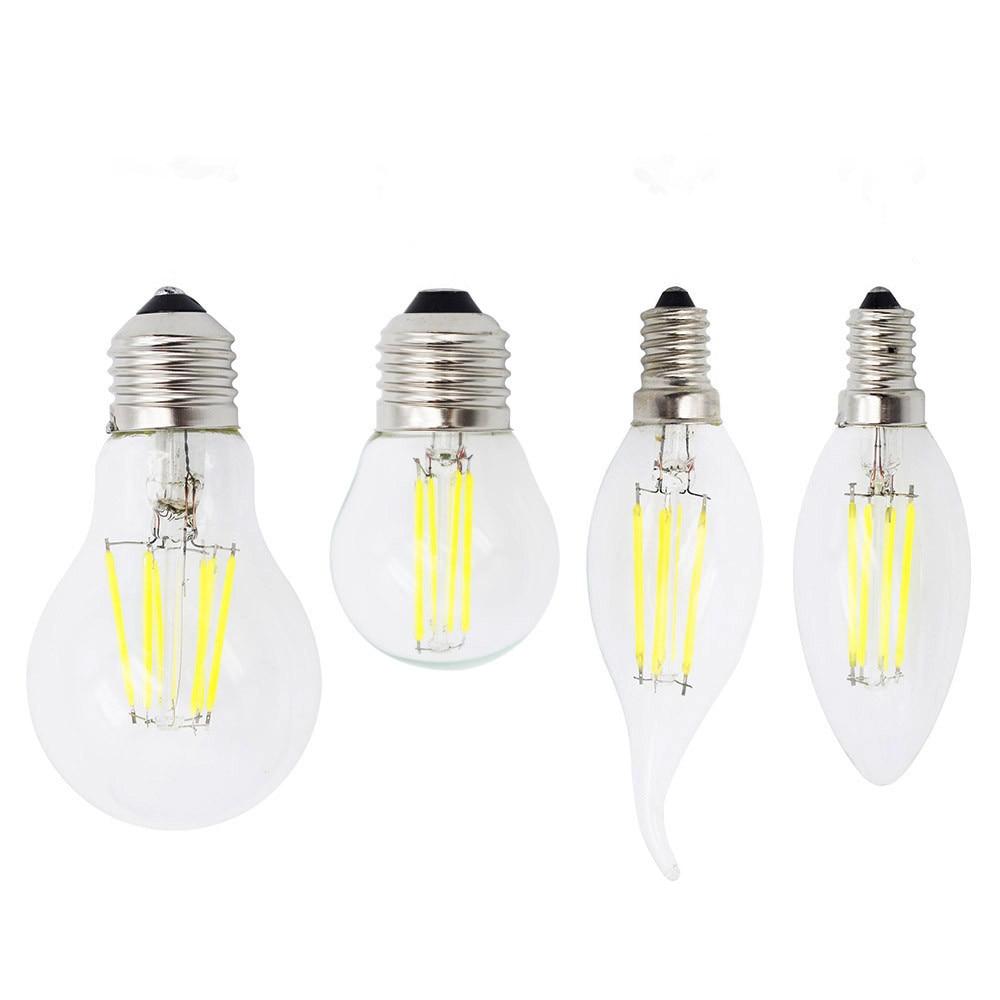 Dimmable Ampoule E27 Retro Edison Glass 220V Lamp E14 LED Filament 4W 8W 12W 16W Bulb Candle Light For Chandelier Bombillas