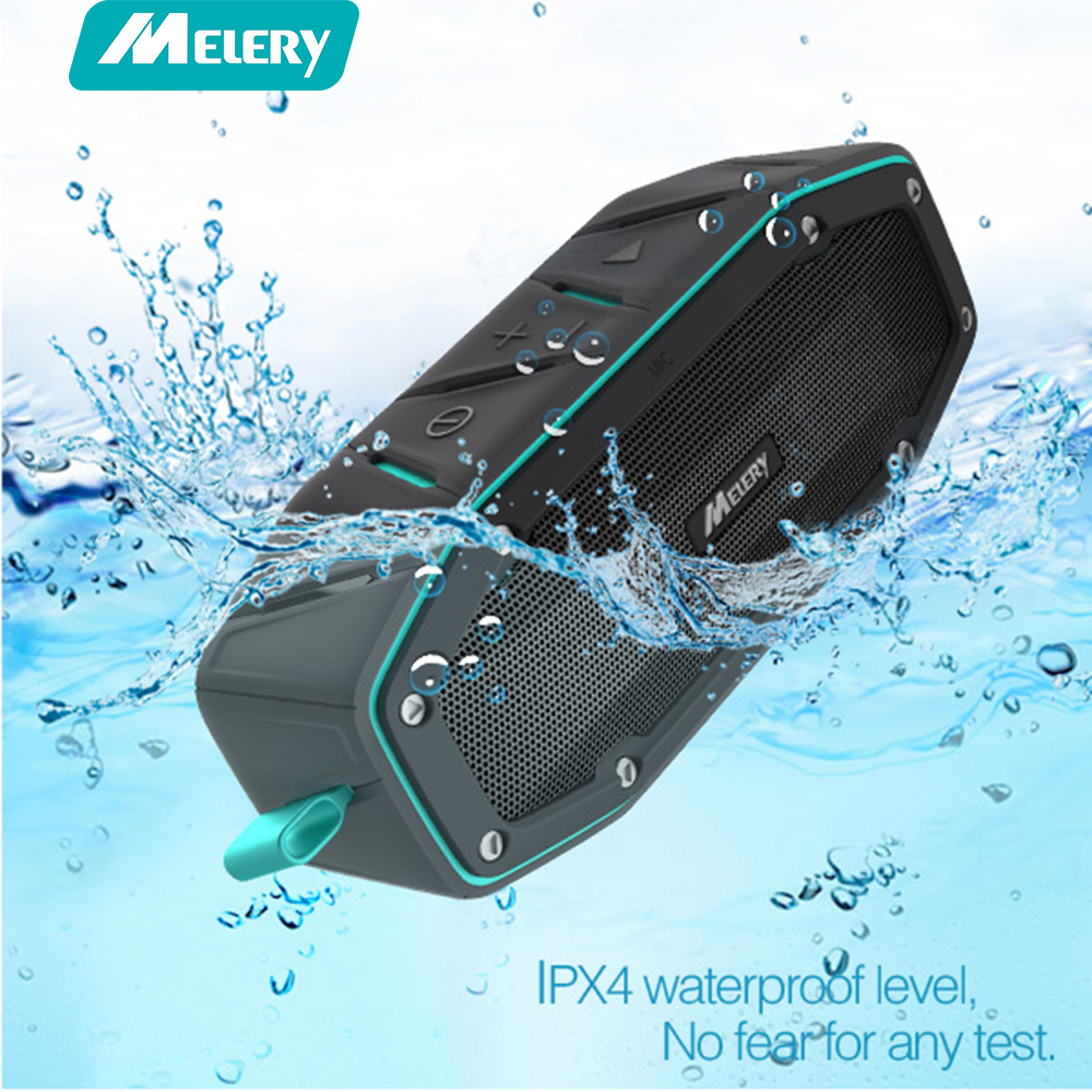 Melery Portable Waterproof Bluetooth Speaker Outdoor IPX6 Wireless AUX with Bass Passive Radiator mic Handfree for Smartphone
