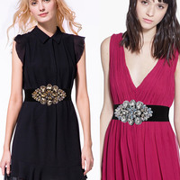 New Cummerbunds belt Women's Elegant fashion dress waist decoration version diamond drill elastic