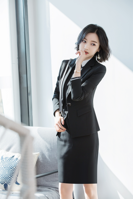 21fbfd30136 2019 Women Office Dress Suits   Blazer Plus Size Slim Mini Pencil ...