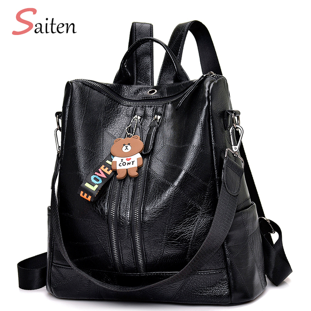 2019 Fashion Women Backpack High Quality Youth Leather Backpacks for Teenage Girls Female School Shoulder Bag Bagpack mochila 2