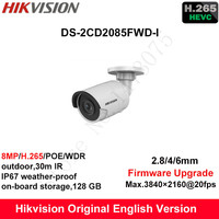 Hikvision Original English Security Camera DS 2CD2085FWD I 8MP H 265 Mini Bullet CCTV Camera WDR