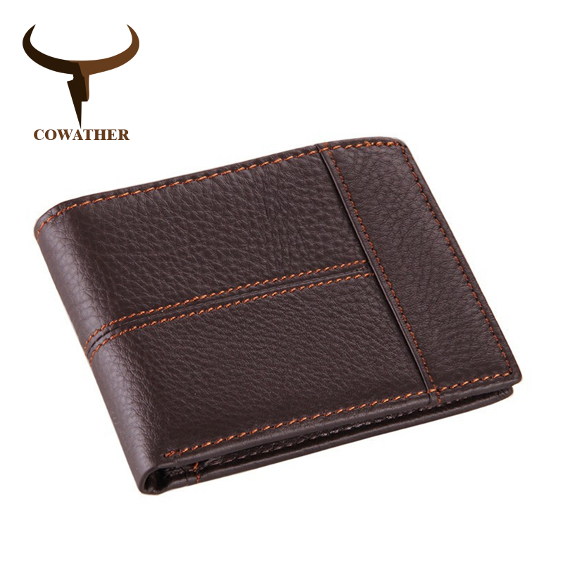Image 3 - COWATHER 100% top quality cow genuine leather men wallets fashion splice purse dollar price carteira masculina original brandcarteira masculinaleather mens walletgenuine leather men wallet -