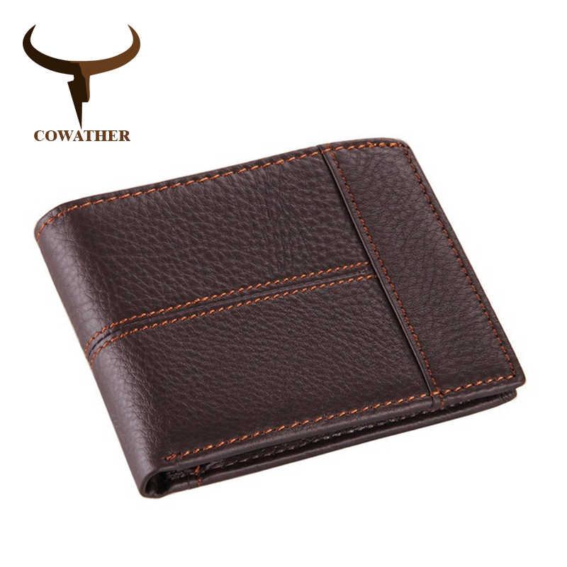 COWATHER 100% Высокое качество корова натуральная кожа мужские кошельки модные сращивающиеся кошелек цена доллара carteira masculina оригинальный бренд