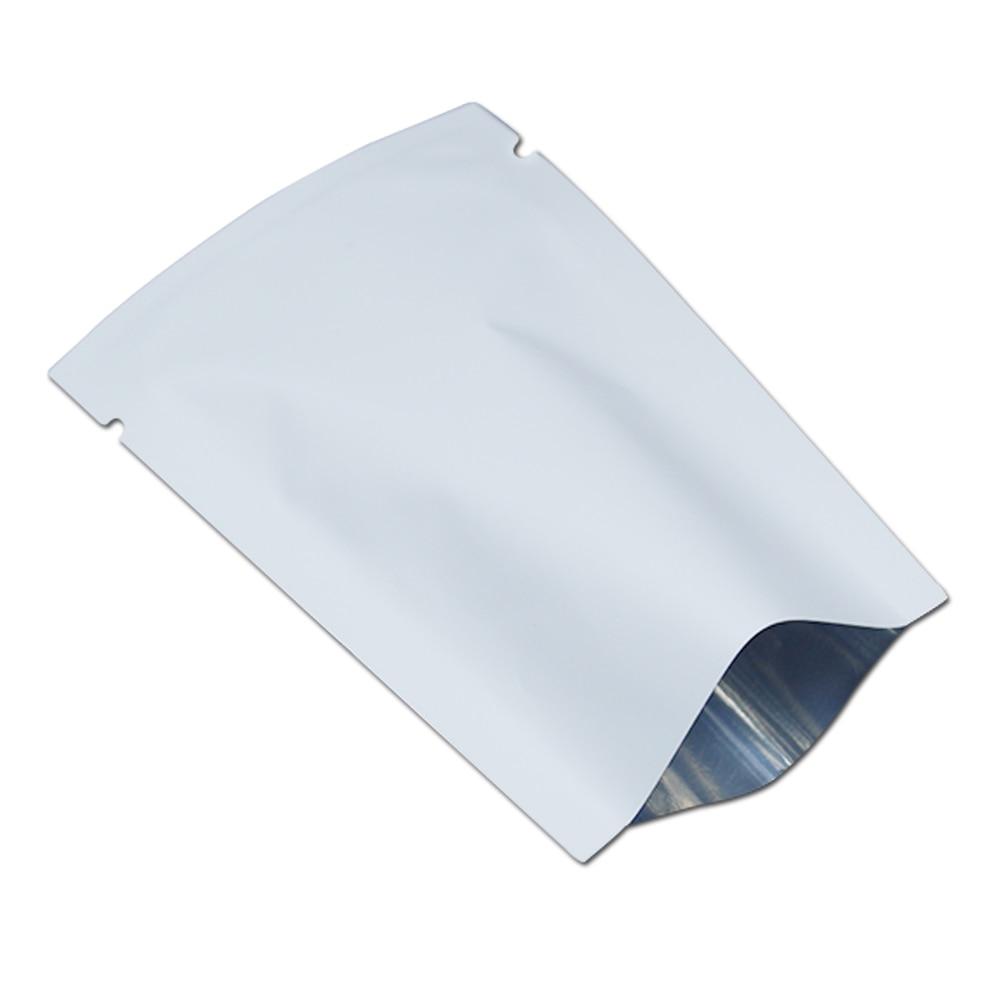 100 pcs/Lot blanc mat en gros papier d'aluminium sac poche Mylar plat ouvert Top vide thermoscellable sacs pour poudre épices emballage