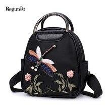 Летняя мода цветок стрекоза вышивка рюкзаки для девочек-подростков Оксфорд рюкзак школы женские рюкзаки рюкзак