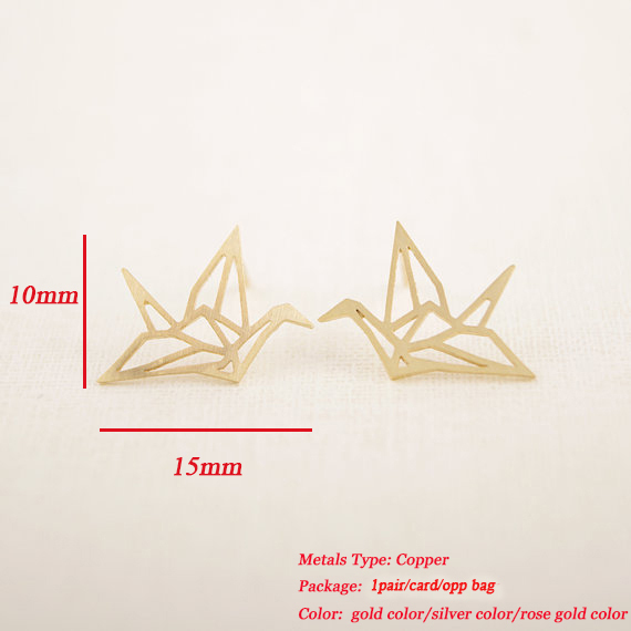 Jisensp New Fashion Wholesale Jewelry Wild Origami Crane Earrings for Women Vintage Cute Animal Bird Stud Earrings Pendientes 1