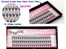 Free shipping 1pcs/lot  6-14mm 60 cluster individual false eyelash flare 60 strands knot soft synthetic false lashes extension