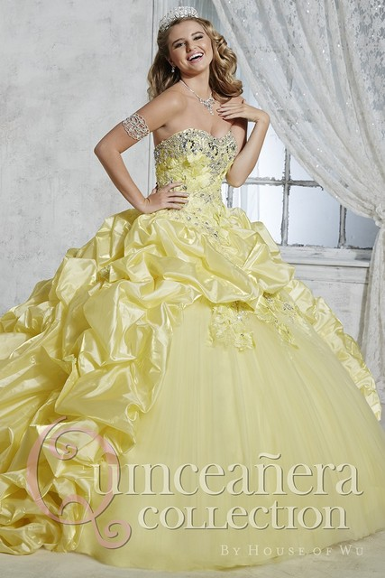 2016 Barato Roxo Amarelo Rosa Quinceanera Vestido de Tafetá Frisado Apliques vestido de Baile Vestidos De 15 Años QD96 do Doce 16 Vestido