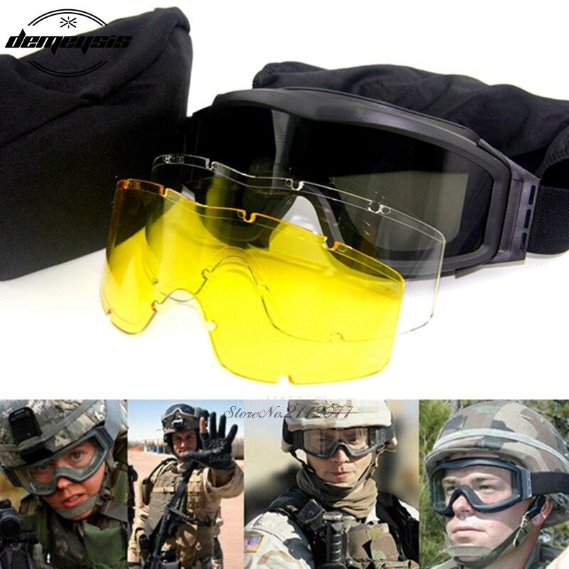 Schwarz Tan Grün Airsoft Tactical Goggles USMC Taktische Sonnenbrille Gläser Armee Airsoft Paintball Brille