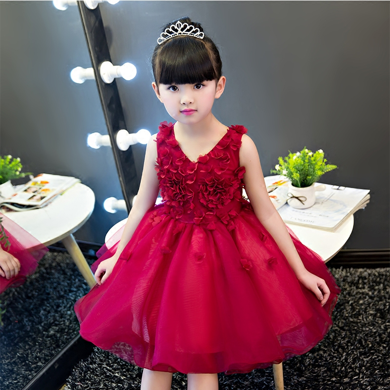 2017New Arrival Luxury Summer Flower Lace Dress Girls Wedding Pageant Birthday Party Princess Dress Formal Prom Gowns 2-15 years summer flower lace girls wedding pageant party dresses princess formal prom gowns size 3 14 years 2018 new kid girl clothes