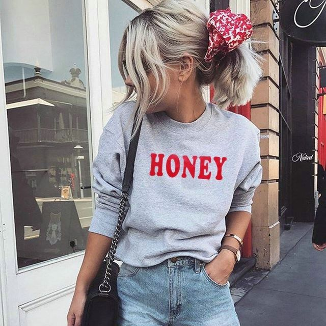 € 9.36 |Novedad Casual moda mujer señoras miel letra sudadera manga larga cuello redondo pulóver gris Tops conjunto primavera otoño en Sudaderas de La