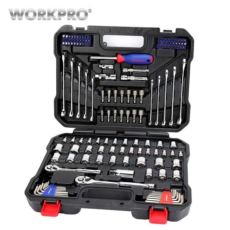 WORKPRO 145 PZ Tools Set per la Riparazione Auto Chiavi A Cricchetto 1/4