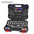 WORKPRO 145 Unid conjunto de herramientas para la reparación de automóviles de trinquete de 1/4 y 3/8 Dr. Socket Set Juego de llaves inicio herramientas
